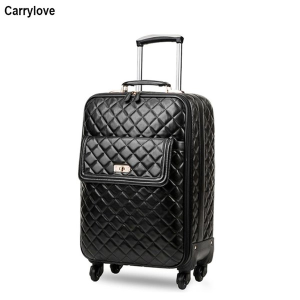 """CARRYLOVE 16"""" inch women carry on luggage 20"""" 24"""" spinner leather trolley suitcase on wheel"""