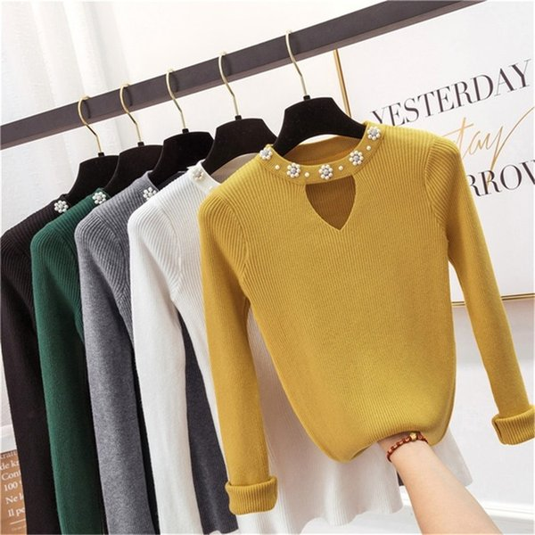 2019 Sweety pearl V-Neck Yellow Lady's Sweater Spring Slim Beading Pullover Female Pull Pink Sweater for Women Jumper Knit Tops #409181