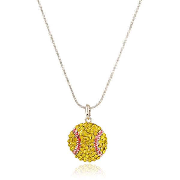 New Ball Sports necklace Crystal Rhinestone softball baseball basketball pendant Snake chains For women Men s Fans Fashion Jewelry