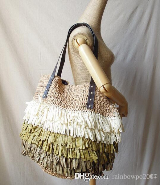 Shipping summer Free straw bag leisure beach bag tassel hand woven bags leisure Hawaii environmental protection bag ladies wind
