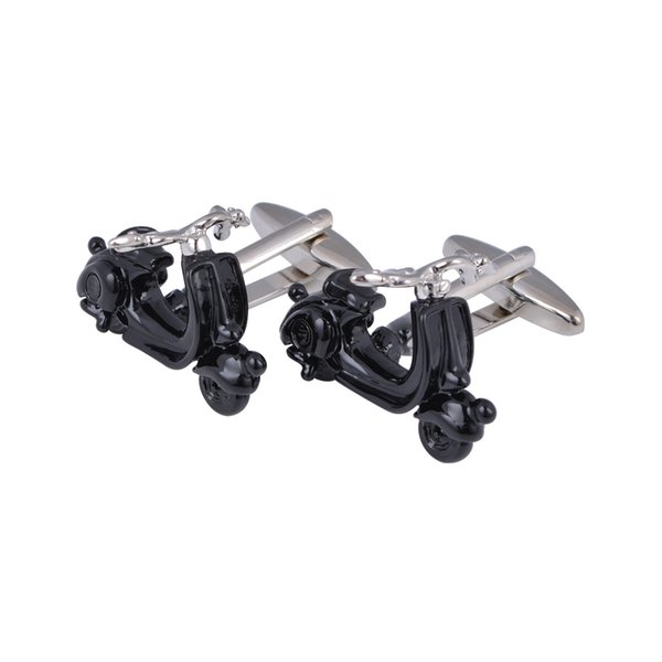High Quality Novelty Fashion Men Black Paint Copper Electric Motorcycle Cufflinks Tuxedo Shirt Cuff Links Buttons