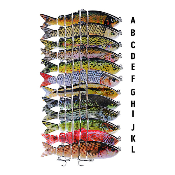 Realistic multi-jointed 3D Fish Six segmented body Fishing Lure 12cm 18.5g S-shaped swimming Lipless Laser Musky Bait Hooks