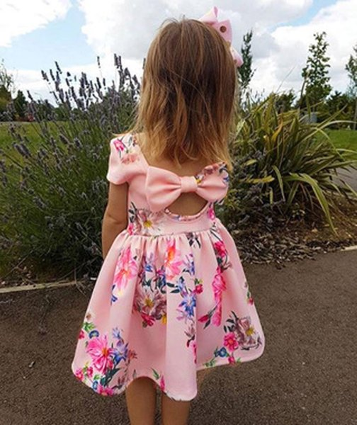 Toddler kids dresses for girls Floral Print Bowknot Princess Party Pageant Dress Outfit cinderella costume vestidos #VB20