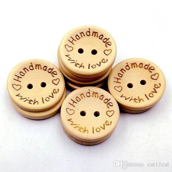 Doğal Renk Ahşap Düğmeler el yapımı aşk mektubu ahşap düğme zanaat DIY bebek giyim aksesuarları