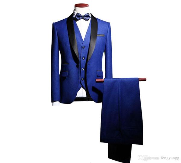 New Arrival Groom Tuxedos Wedding Pants Coat Best Man Blazer 3 Pieces (Jacket+Pants+Vest+Tie) Men Suits Prom Party Dress Suit Custom