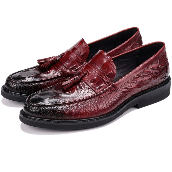 Crocodile Grain Boys Prom Dress Shoes Genuine Leather Party Shoes Male Formal Wedding Groom Shoes With Tassel