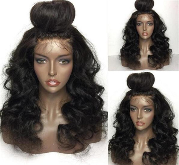 Peruvian Hair Wigs Remy Human Hair Full Lace Wigs Wavy Natural Black Color 100% Human Hair Gluless Lace Wigs Free shipping