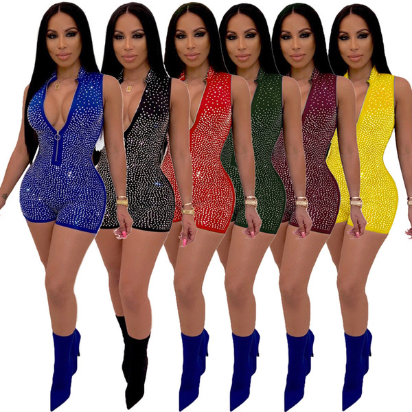 Top Quality New Women's Sexy Jumpsuit Elegant Deep V Zipper Sleeveless jumpsuits Casual Club Garment streetwear bodysuit sequin romper
