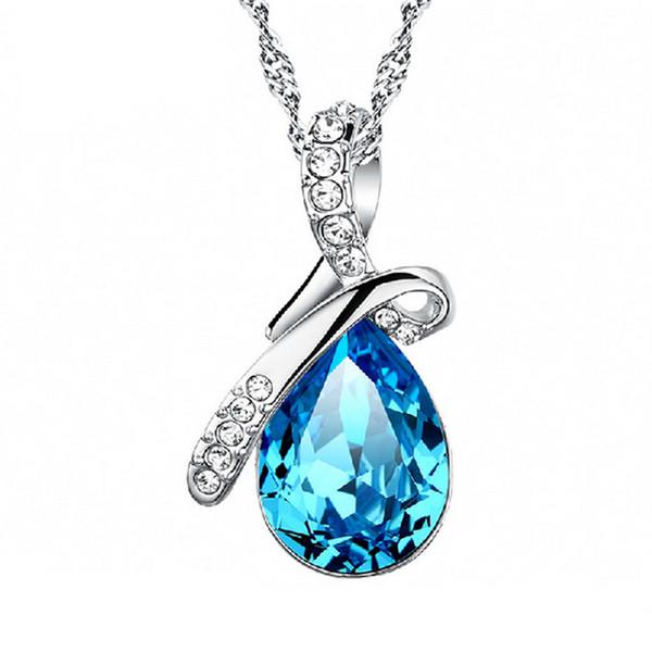 Luxe Autriche Cristal Larmes D'Anges Colliers Goutte D'eau forme strass Pendentif Chaînes en plaqué argent Pour femmes bijoux Mode Cadeau