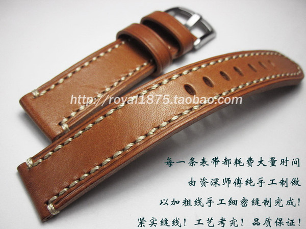 High quality 18mm 19mm 20mm 21mm 22mm Yellow Brown Genuine Leather Strap Watch Band for Wrist Belt Bracelet