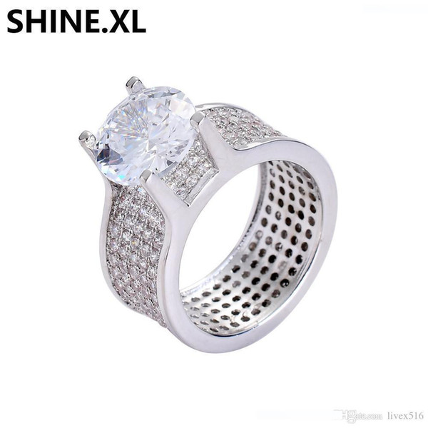 Fashion Hip Hop Jewelry High-Grade Gold and Silver Plated Micro-inlaid Zircon Ring Charm Men Bling Bling Jewelry