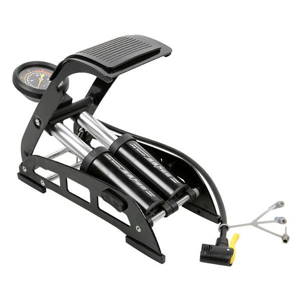 SAHOO Bicycl Bike Foot Air Pump Portable High-Pressure Steel No-Slip Bike Inflatable Air Pump with Accurate Pressure Gauge #107249