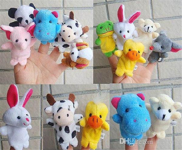 top popular 10pcs cartoon animal finger puppet plush toys Children finger dolls for kids Family Finger Puppets set free shipping K0087 2021