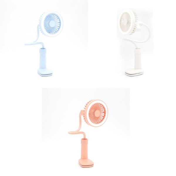 Portátil USB Mini carregamento Fan 360 graus de rotação Handheld Grampo Grampo Ventilador Cooler com LED Light 2 velocidade ajustável para