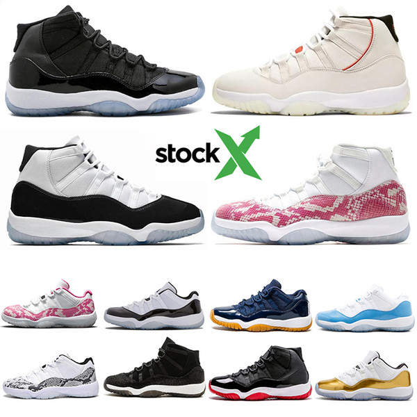 Stok X 11'ler Yılan derisi Concord 45 Platin Ton Kapak ve Önlük Erkekler Basketbol Ayakkabı Space Jam 11 erkek eğitmenler tasarımcı ayakkabı Boyut 5.5- 13