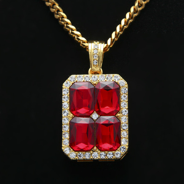 """New Arrival Square Crystal Red/blue/black Stone Pendant 30"""" Cuban Chain Gold/silver Color Mens Hiphop Blingbling Neclace"""