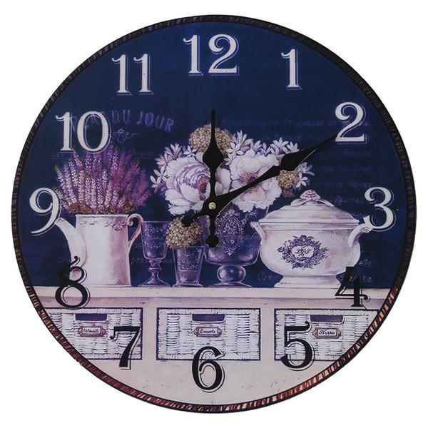 Estilo antigo do vintage 34 centímetros relógio de parede quarto de casa retro cozinha de quartzo (padrão: flor + vasos)