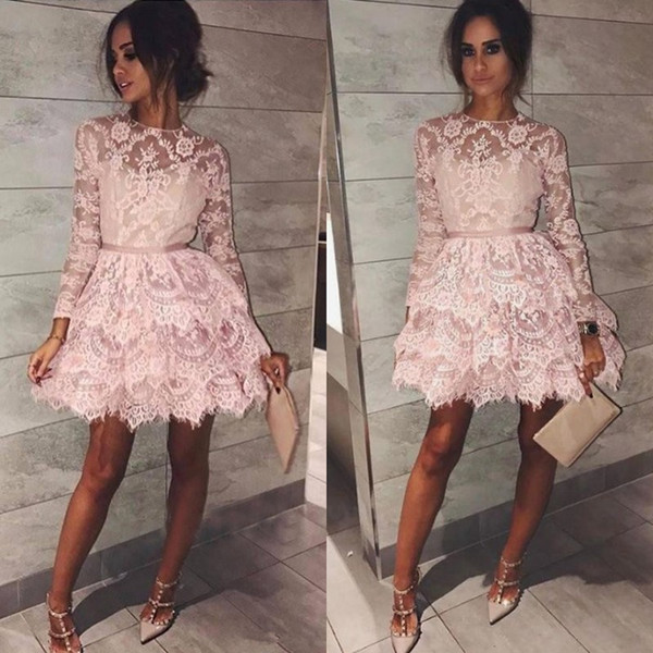 Excellent Illusion Long Sleeve Homecoming Dress Round Neck Tiered Lace Cocktail Party Gown 2019 Short Mini Prom Dress Custom Made