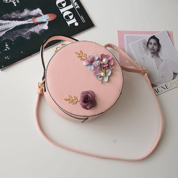 Mini mano de las señoras bolsos de lujo de los bolsos women Diseñador totalizadores de la PU individual Flores señora hombro del bolso circular floral