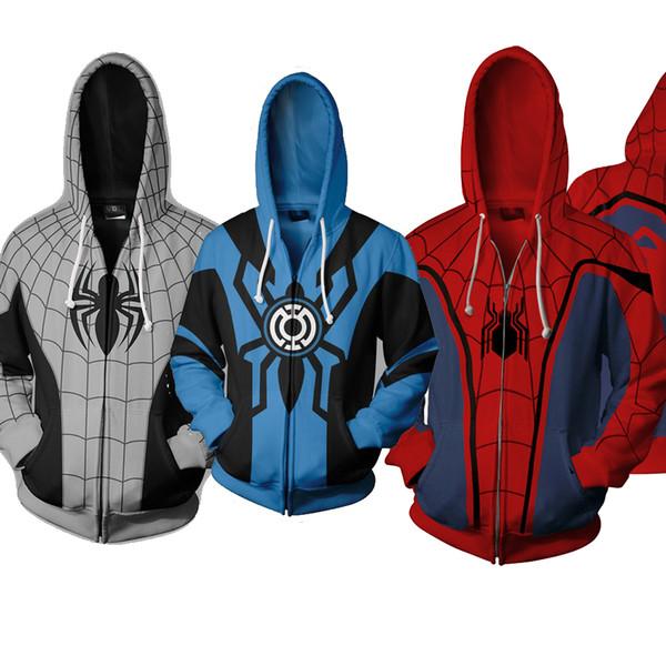 Autunno Homecoming Scarlet Spider Zip Up Felpa con cappuccio Uomo Felpe Ps4 Spidey Supereroe Cosplay Cappotti con cappuccio Giacca con cerniera J190523