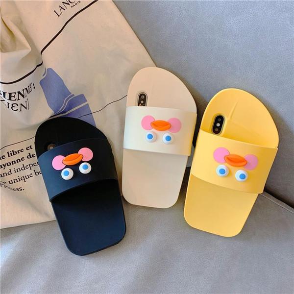 Etui de téléphone portable acide canard hyaluronique iPhone X Max pantoufles créatives dessin animé stéréo silicone Apple 8 couvercle de protection approprié