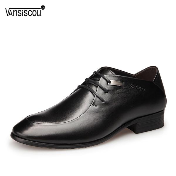 VANSISCOU Herren Business-echtes Leder-Freizeitschuhe Schöne Derby Schuhe Metall Spitzschuh schnüren sich oben Oxford Brautkleid