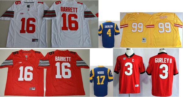 Ohio State Buckeyes # 16 J. T Barrett Erkekler Vintage Koleji Los Angeles 4 Greg Zuerlein 17 Robert Woods 99 Warren Sapp Amerikan Futbolu Formalar