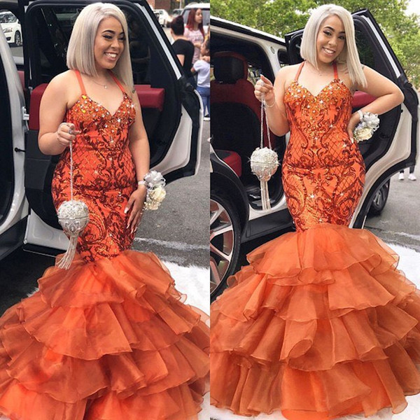 2019 New Luxury Orange Prom Dresses Mermaid Halter Tiered Lace Sexy African Prom Gowns Vestidos Special Occasion Dresses Evening Wear DP0301