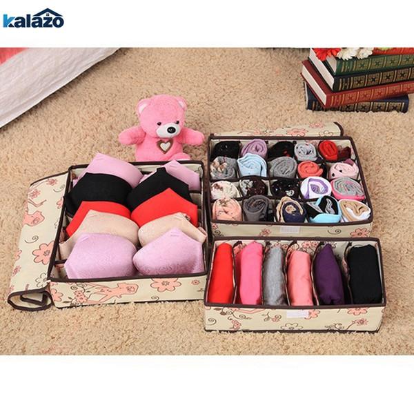 Underwear Bra Organizer Storage Box 2 Colors Beige/Rose Drawer Closet Organizers Boxes For Underwear Scarf Socks Organiser