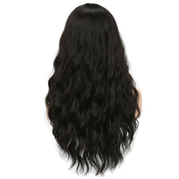 Long Black Womens Wigs with Bangs Heat Resistant Synthetic Wavy Wigs for Black Women African American+wig net