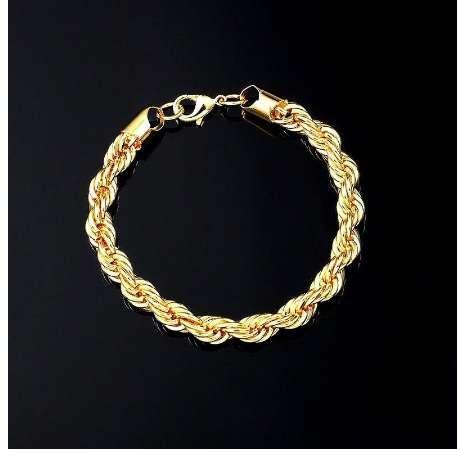 UWIN Seil Armband Gold Silber 8 Zoll x 5 MM Dick Mens Twisted Geflochtene Kette Hip Hop Armband
