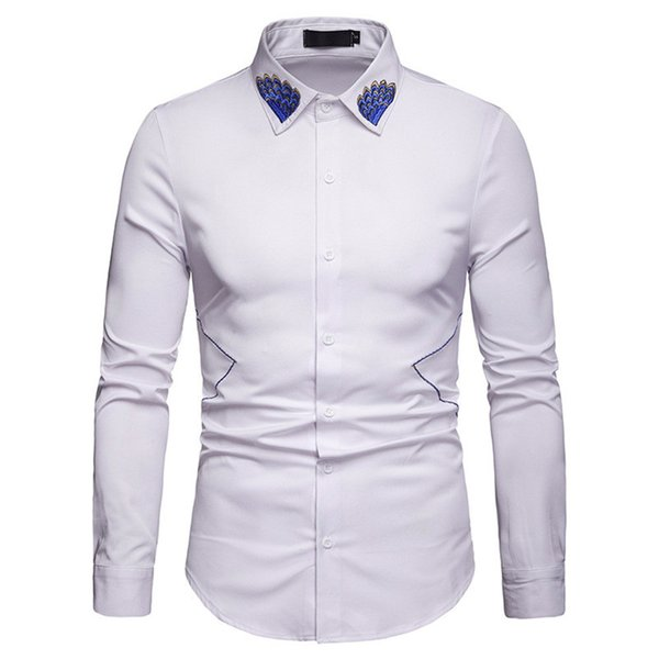 Mature Man Vintage Shirts Embroidery Collar Decoration Elegant Gentleman Blusa Chinese Style Solid Color Shirt Male Loose Tops