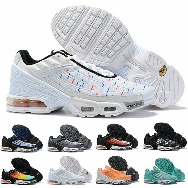 Compre 2019 New Nike Air Max Plus 3 Tn III Tuned Hombres Mujeres Zapatos Para Correr Airs Tns Requin Trainers Hombres Femme Chaussures Deportivos