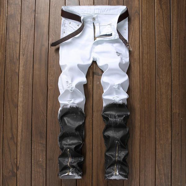 Jeans skinny en cuir déchiré par un créateur de mode Slim Motocycliste Mot o Biker Mens Denim Pants 06