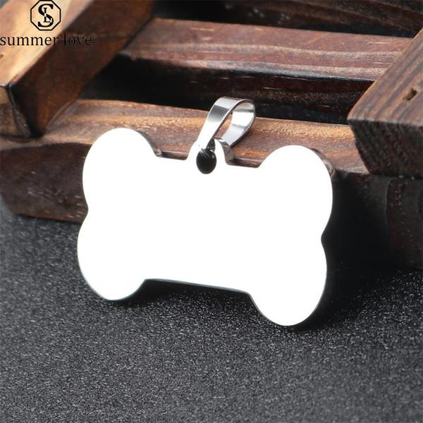 Cadena en blanco de acero inoxidable Llavero 40 * 21 mm Etiquetas de identificación de mascotas Etiquetas de perro personalizadas Etiquetas de gato ¿Se puede grabar en la parte delantera trasera Diseño de llavero Joyería