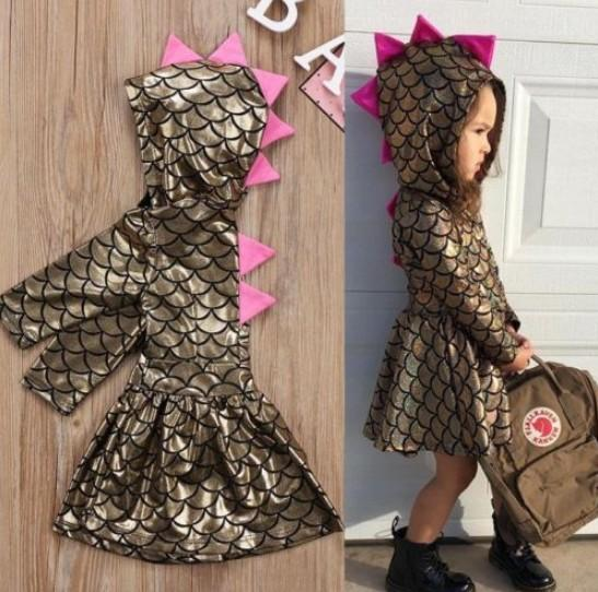 Girls Dress Scales Hooded Long Sleeve Fish Scale Design Breathable Cool Summer Skirt for Baby Girls Clothing