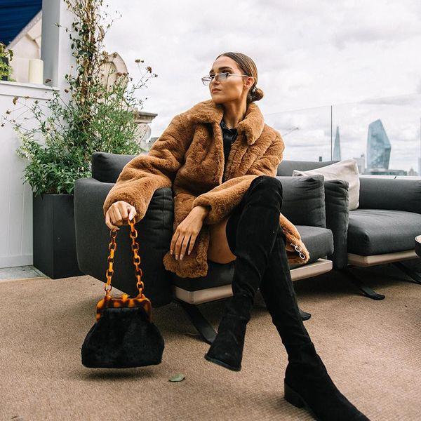 Frauen-Reißverschluss-Teddybär-Jacken braunes Patchworkpelz drehen unten Colloar Outfits Taschen elegante Mäntel um