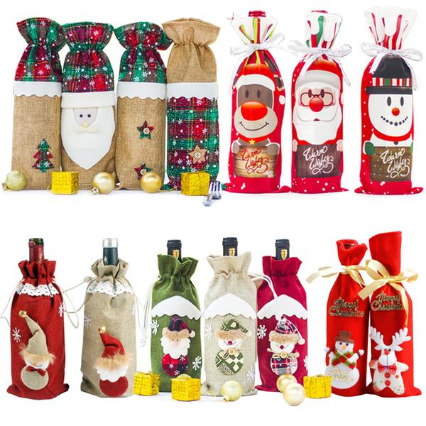 LemonBest Noel Süslemeleri Ev Noel Baba Şarap Şişesi Kapağı için Kardan Adam Stocking Hediye Sahipleri Noel Navidad Dekor Yeni Yıl