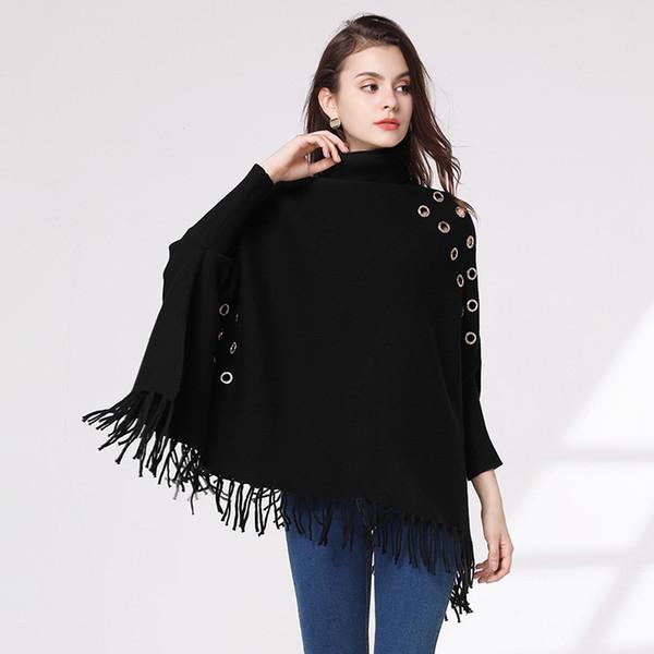 Pop2019 Knitting Unlined Upper Garment Cloak Tassels High Lead Sweater Woman European Suit-dress Thick Section Loose Coat Shawl