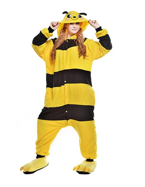 Adult Cartoon Honeybee Onesie Anime Costume Polar Fleece Cosplay Costume Pyjamas Halloween Carnival Jumpsuit Loose Masquerade Outfit