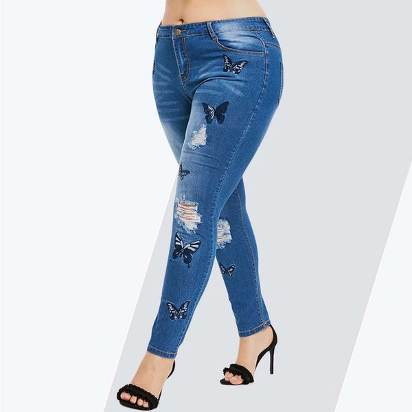 Rosegal Plus Size Butterfly Distressed Embroidered Jeans Women Pant Skinny High Waist Pencil Pants Denim Jean Ladies Trousers Q190524
