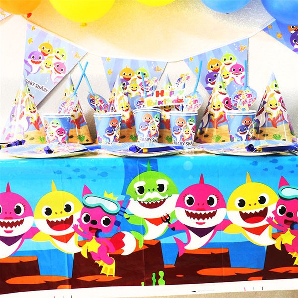 Baby Shark theme party suit for children birthday cartoon baby shower tableware Table Cloth Decoration Party Supply 30pcs
