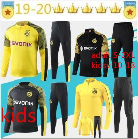 top popular 2019 kids tracksuit Jacket Set Men Kit long sleeve 19 20 Training suit pants football Borussia Reus clothes sports kids 10-18 adult S-2XL 2020