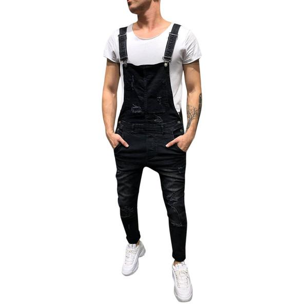 New Men's Overall Casual Jumpsuit Jeans Wash Broken Pocket Trousers Suspender Pants Men Jeans Pants Slim Fit Vaqueros Hombre 10