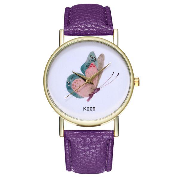 Girl Dress watch Woman Fashion Butterfly Leather Band Analog Quartz Round Leisure Wrist Watches Clock Gift