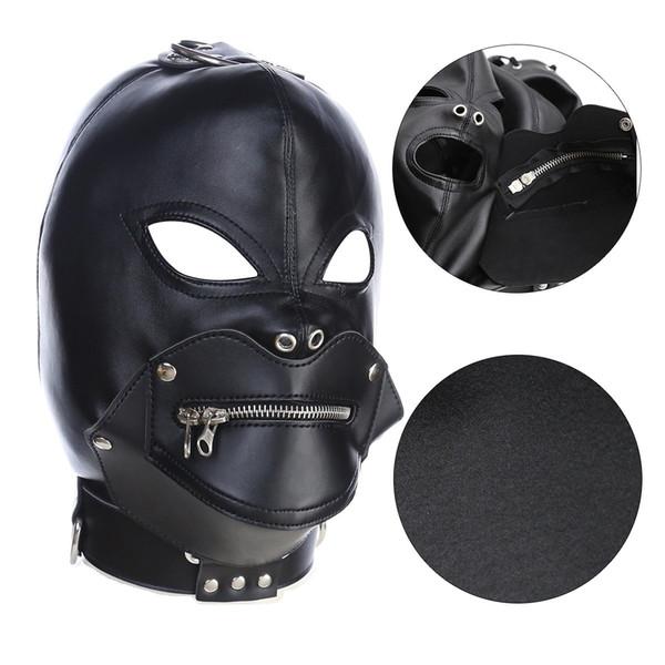 Eyes Mouth Out Leather Headgear Masks Hood with zipper padlock SM Bondage Stuff Adult Sex toys
