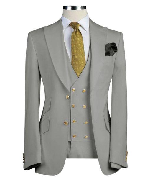 Erkek takımları 3 adet Slim Fit İş Örgün düğün için Damat Ordusu Yeşil Noble Gri Beyaz Smokin Takımları