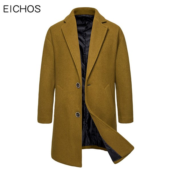 Nuevos hombres Camel Coat 2019 Wool Blends Overcoat Men Casual Fashion Pure Color Winter Korean Mens Pea Coat para EICHOS