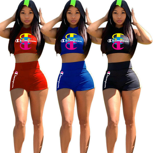 S-XXL Champion Hoodies Shorts Outfits Sleeveless Hooded Crop Tops + High Waist Shorts 2 Piece Summer Tracksuit Fashion Jogging Suit C51402