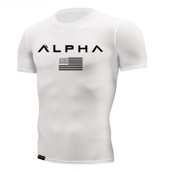 Free Shipping New Fashion T Shirt Breathable Mens Short Sleeve Fitness t-shirt Gyms Tee Tight Casual Summer Top S-4XL J18